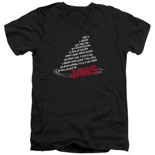 Jaws/Dorsal Text Short Sleeve Adult V-Neck in Black