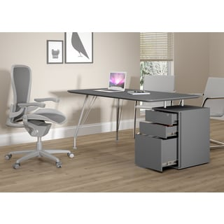 18600 Grey Steel and Wood Home Office Rectangular Desk with Drawer Cabinet