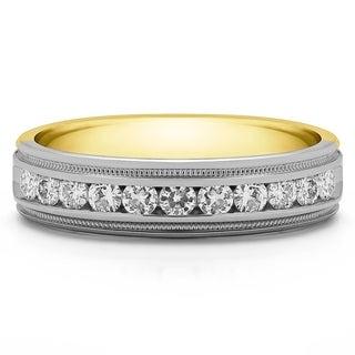 TwoBirch 10k Gold Men's 1/4ct TGW Wedding Ring