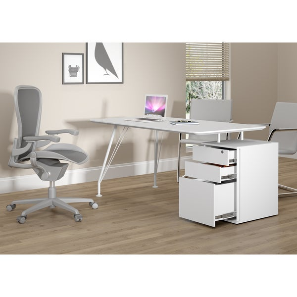 Idea Home Office White Rectangular Desk with Drawer Cabinet - Free