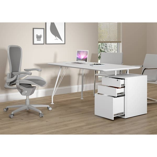 Modern Office Desk with Cabinet - White