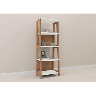 Trendline 26125 Wood Brown/White Home Office Bookcase