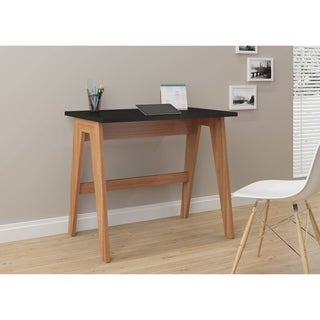 Trendline 26107 Black Wood and Laminate Home Office Desk