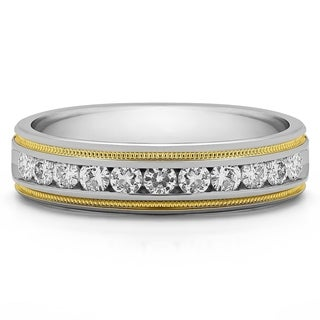 14k Gold Men's Wedding Ring with Forever Brilliant Moissanite by Charles Colvard (0.27, Cts)
