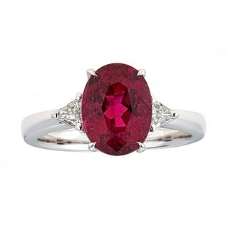Anika and August Platinum Rubellite and 1/4ct TDW Diamond Ring (G-H, I1-I2)