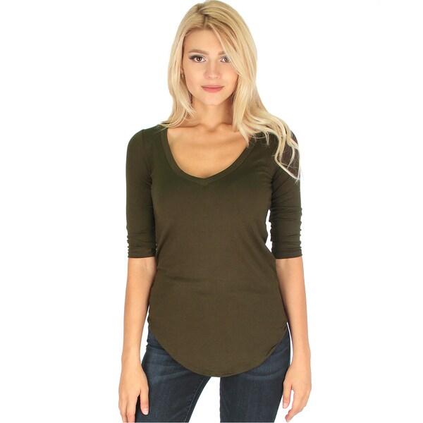 Women's 3/4-Sleeve V-Neck Top