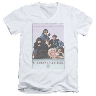 Breakfast Club/Bc Poster Short Sleeve Adult V-Neck in White