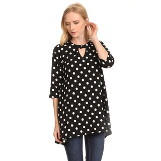 Women's White/Black Polyester and Spandex Polka Dot Keyhole Top