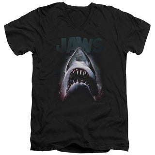 Jaws/Terror in The Deep Short Sleeve Adult V-Neck in Black