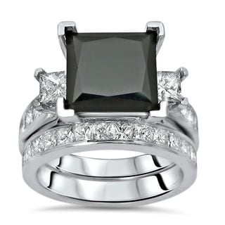 Noori 14k White Gold 6 1/3ct Black and White Diamond Princess-Cut 3 Stone Bridal Ring Set (G-H, SI1-SI2)