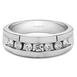 TwoBirch 10k Gold Men's Moissanite Stone Wedding Ring (More options available)