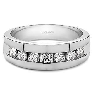 twobirch 10k gold mens moissanite stone wedding ring - Overstock Wedding Rings