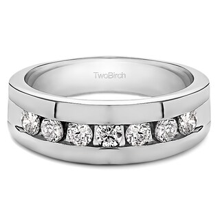 TwoBirch 10k Gold Men's Wedding Ring with Created Moissanite (0.24, Cts)