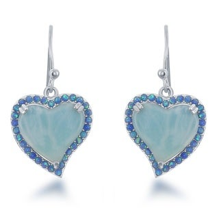 La Preciosa Sterling Silver Larimar & Opal Heart Dangle Earrings