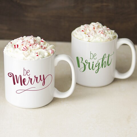 White/Red/Green Ceramic 20-ounce Merry and Bright Coffee Mugs (Set of 2)