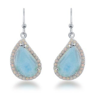 La Preciosa Women's Sterling Silver Blue/White Larimar and Opal Teardrop Dangle Earrings