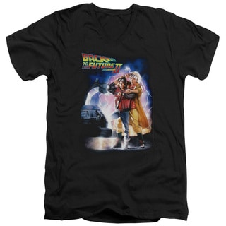 Back To The Future Ii/Poster Short Sleeve Adult V-Neck in Black