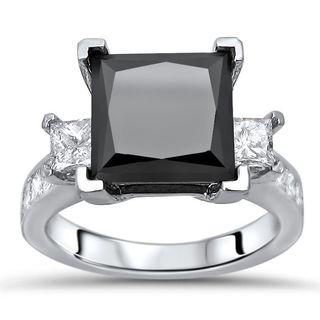 Noori 14k White Gold 5 2/5ct TDW Princess-cut Black Diamond Engagement Ring (G-H, SI1-SI2)