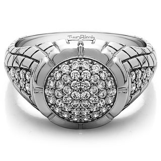 14k White Gold Domed Men's Ring with Engraved Design With Diamonds (G-H,SI2-I1) (0.54 Cts., G-H, SI2-I1)