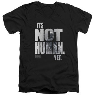 Thing/Not Human Yet Short Sleeve Adult V-Neck in Black