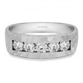 TwoBirch 10k Gold Men's 5/8ct TGW Moissanite Wedding Ring