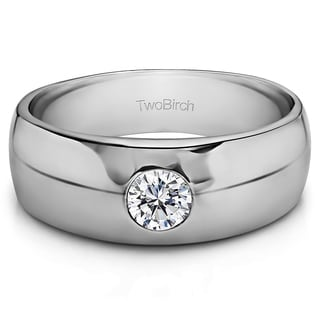 Sterling Silver Men's 1/4ct TGW White Sapphire High Polish Ring