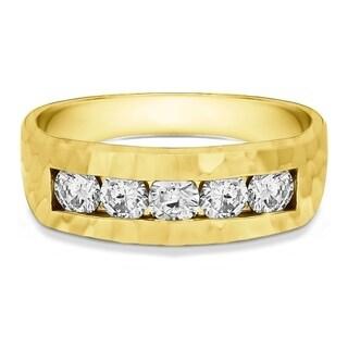 Sterling Silver Men's 5/8ct Moissanite Wedding Ring