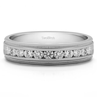 TwoBirch 10k White Gold Men's 1/4ct TDW Diamond Channel Set Wedding Ring