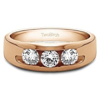 TwoBirch 10k Gold Men's 1/3ct TGW Moissanite Wedding Ring