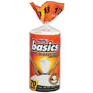 Hefty E50370 70 Count 13 Gallon Basics Tall Kitchen Bags