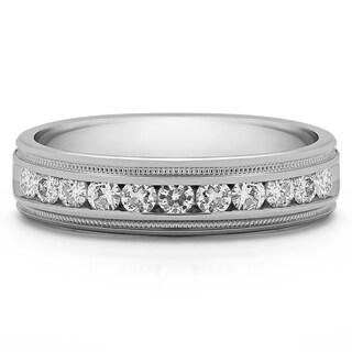 10k White Gold Men's 1/2ct TDW Diamond Milgrain Wedding Ring (G-H, I2-I3)