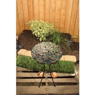 Carson Home Accents 13-inch Blue Deco Mosaic Art Glass Bird Bath