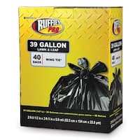 Ruffies Pro 1124912 39 Gallon Black Lawn & Leaf Bags 40 Count