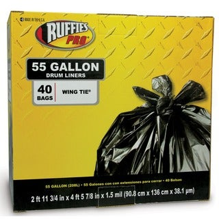 Ruffies Pro 1124889 55 Gallon Black Drum Liners 40 Count