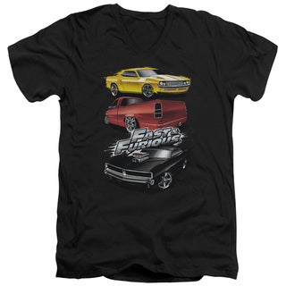 Fast and The Furious/Muscle Car Splatter Short Sleeve Adult V-Neck in Charcoal