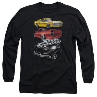 Fast and The Furious/Muscle Car Splatter Long Sleeve Adult 18/1 in Charcoal