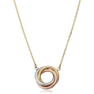 Fremada 14k Tri-color Gold Adjustable Length Love Knot Necklace