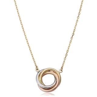 Fremada 14k Tri-color Gold Adjustable Length Love Knot Necklace
