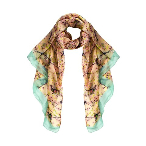 Peach Couture Pretty Vintage Multicolored Fabric/Viscose Floral Blossom Hummingbird Print Light Sheer Scarves