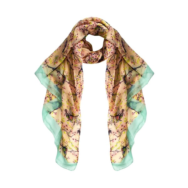 Peach Couture Pretty Vintage Multicolored Fabric/Viscose Floral Blossom Hummingbird Print Light Sheer Scarves. Opens flyout.