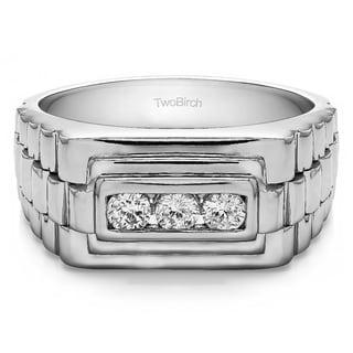 Charles Colvard Sterling Silver Men's 1/4ct TGW Forever Moissanite Wedding Ring