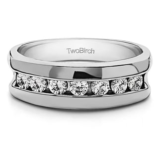 14k Gold Men's Wedding Ring with Forever Brilliant Moissanite by Charles Colvard (0.42, Cts)