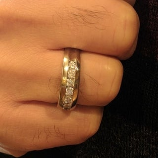TwoBirch Sterling Silver Men's 2/5ct TGW Moissanite Wedding Ring (More options available)