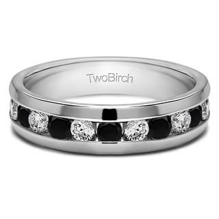 TwoBirch 10k White Gold Channel Set Men's Wedding Ring With Black And White Diamonds (0.