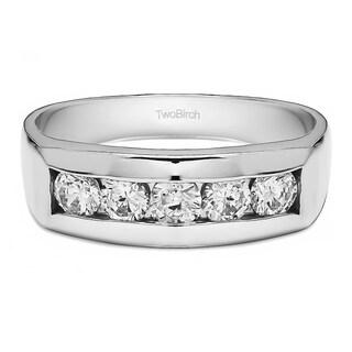 Charles Colvard 14k Gold Men's 5/8ct TGW Moissanite Wedding Ring