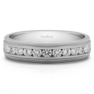 TwoBirch Sterling Silver Channel-set Men's 1/2ct TDW Diamond Milgrain Wedding Ring