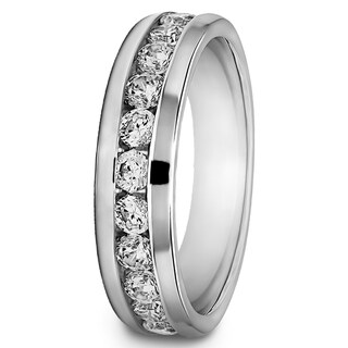 TwoBirch Sterling Silver Channel-set Men's 1/2ct TDW Diamond Milgrain Wedding Ring (G-H, I2-I3)