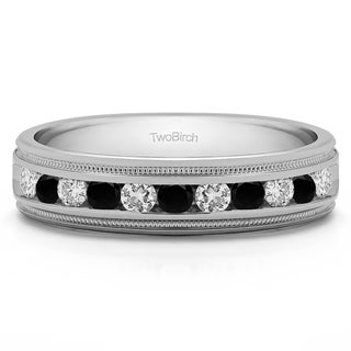 TwoBirch 14k White Gold Men's 1/2ct TDW Black and White Single Row Wedding Ring