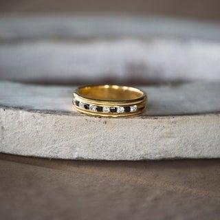 Sterling Silver Men's 1/4ct TDW Black and White Channel-set Diamond Wedding Ring (G-H, I1-I2)
