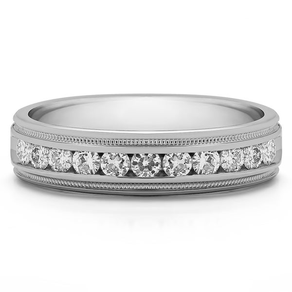 TwoBirch Sterling Silver Channel Set Men's 4/5ct TGW Sapphire Milgrain Wedding Ring
